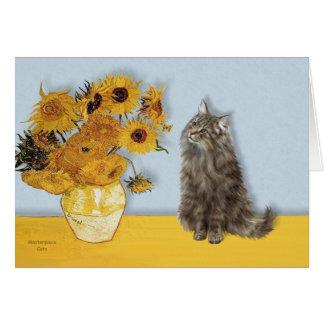 Sunflowers - Norwegian Forest cat Card