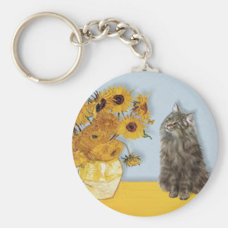 Sunflowers - Norwegian Forest cat Key Chains