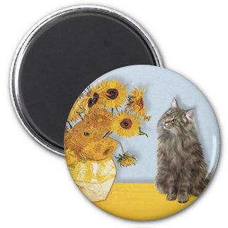 Sunflowers - Norwegian Forest cat Magnet