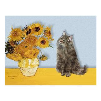 Sunflowers - Norwegian Forest cat Postcard