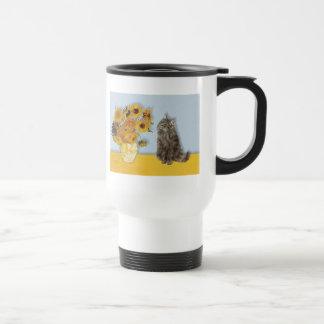 Sunflowers - Norwegian Forest cat Travel Mug