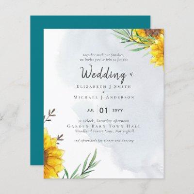 Sunflowers Olive Leaves Rustic Teal Wedding