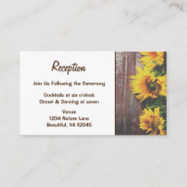 Sunflowers on Barn Wood Rustic Country Wedding Enclosure Card