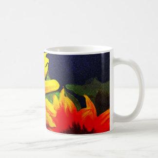 Sunflowers on Blue Background Painting Coffee Mug