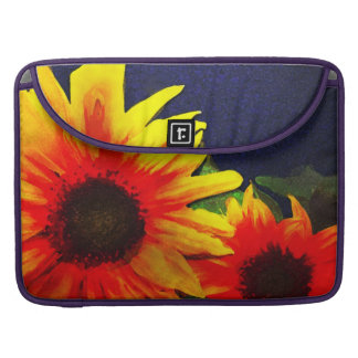 Sunflowers on Blue Background Painting MacBook Pro Sleeves