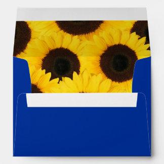 Sunflowers on Blue Envelope