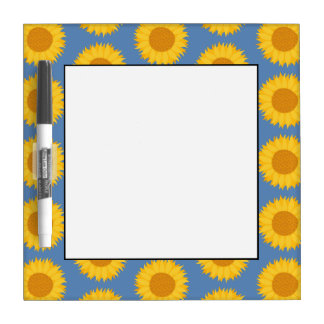 Sunflowers on Blue. Floral Pattern. Dry-Erase Board