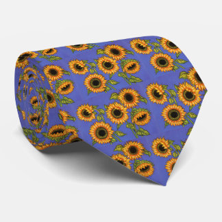 Sunflowers on Blue Neck Tie