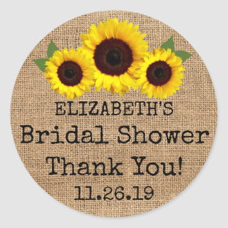 Sunflowers On Burlap Fall Bridal Shower Favor Classic Round Sticker