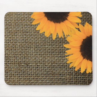 Sunflowers on burlap mousepad