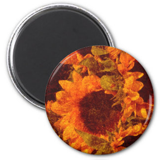Sunflowers on Canvas 2 Inch Round Magnet