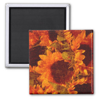 Sunflowers on Canvas 2 Inch Square Magnet