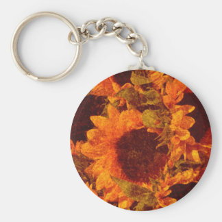 Sunflowers on Canvas Keychain