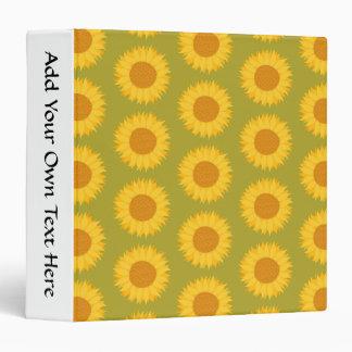 Sunflowers on Khaki Green. Floral Pattern. 3 Ring Binder