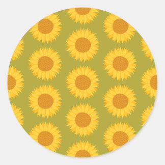 Sunflowers on Khaki Green. Floral Pattern. Classic Round Sticker