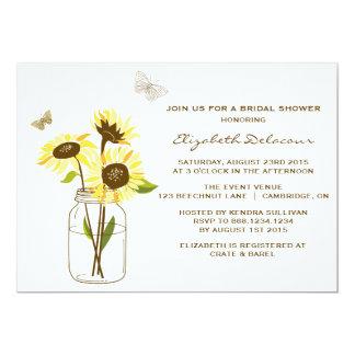 "Sunflowers on Mason Jar Bridal Shower Invitation 5"" X 7"" Invitation Card"