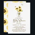"Sunflowers on Mason Jar Summer Baby Shower Invite<br><div class=""desc"">Elegant baby shower invitation featuring yellow sunflowers on mason jars and butterflies. This will be perfect for spring and summer baby showers.</div>"