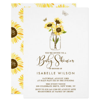 Sunflowers on Mason Jar Summer Baby Shower Invite
