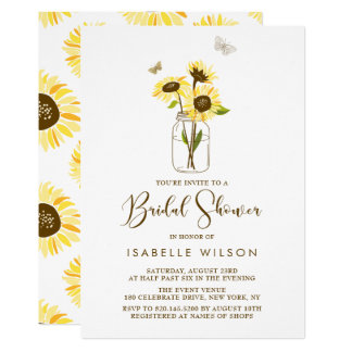 Sunflowers on Mason Jar Summer Bridal Shower Card