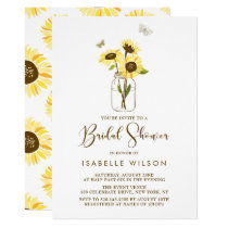 Sunflowers on Mason Jar Summer Bridal Shower Invitation