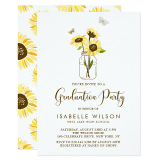 sunflower invitations  sunflower announcements  invites, invitation samples