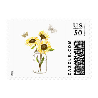 Sunflowers on Mason Jar Summer Postage