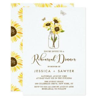 Sunflowers on Mason Jar Summer Rehearsal Dinner Card