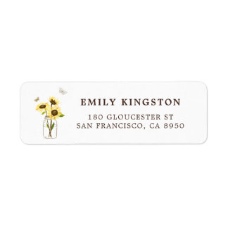 Sunflowers on Mason Jar Whimsical Address Label