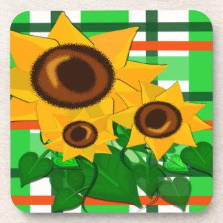 Sunflowers on Plaid Beverage Coaster