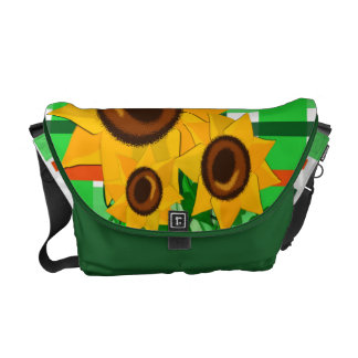 Sunflowers on Plaid Courier Bag