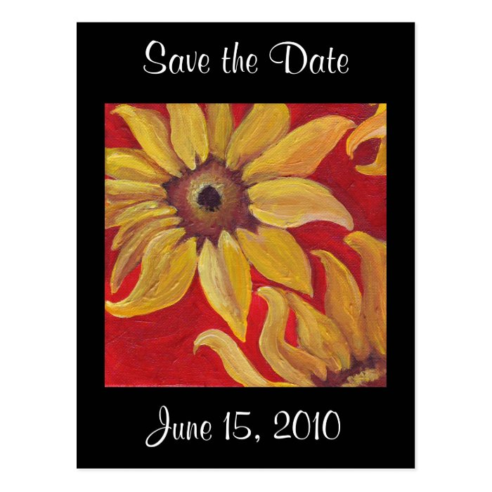 Sunflowers on Red - Black Save the Date postcard