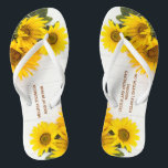"Sunflowers on Rustic Wood Wedding Flip Flops<br><div class=""desc"">This Wedding Flip Flops features beautiful sunflowers on a rustic white wood background. This design is trendy yet elegant. It has a warm feel perfect for Summer or Fall. This Flip Flops are ideal for an event with Sunflowers or an Autumn theme. The rustic wood background adds a chic Shabby...</div>"