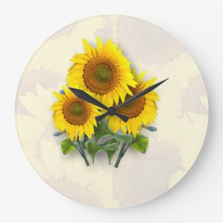 Sunflowers on Sunflowers Wallclocks