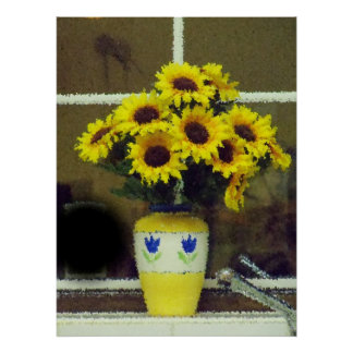 Sunflowers on the window sill poster
