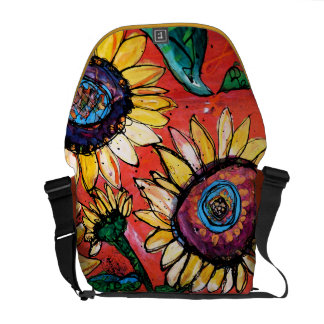 Sunflowers on Tomato Soup Courier Bag