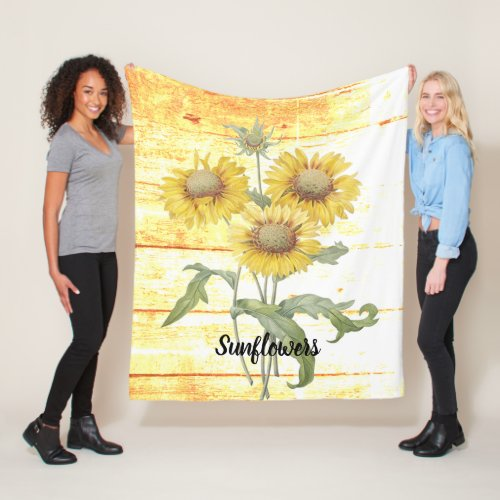Sunflowers on wood fleece blanket