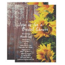 Sunflowers on Wood Rustic Country Bridal Shower Invitation