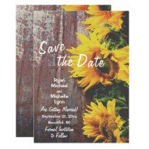 Sunflowers on Wood Rustic Save the Date Wedding Invitation