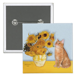 Sunflowers - Orange Tabby cat 46 2 Inch Square Button