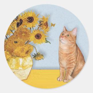 Sunflowers - Orange Tabby cat 46 Classic Round Sticker