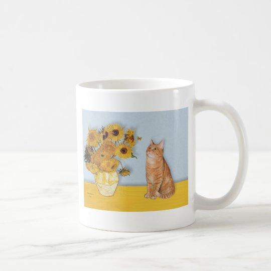 Sunflowers - Orange Tabby cat 46 Coffee Mug