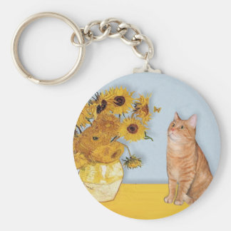Sunflowers - Orange Tabby cat 46 Keychain