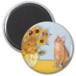 Sunflowers - Orange Tabby cat 46 Refrigerator Magnet