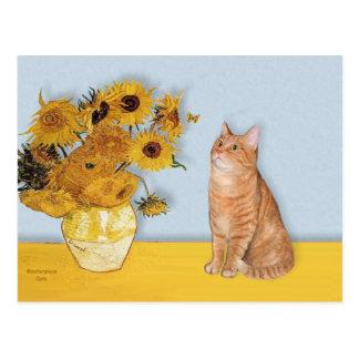 Sunflowers - Orange Tabby cat 46 Postcard
