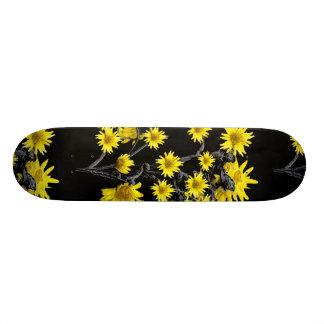 Sunflowers over Black Skateboard Deck