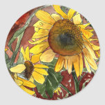sunflowers painting art gifts classic round sticker