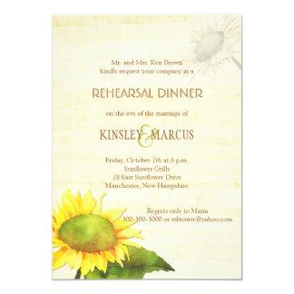 "Sunflowers + Papyrus Print Rehearsal Dinner Invite 5"" X 7"" Invitation Card"