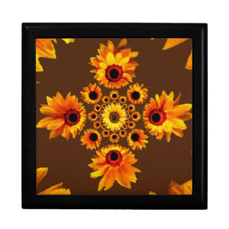 Sunflowers Pattern Coffee Brown Design Keepsake Box