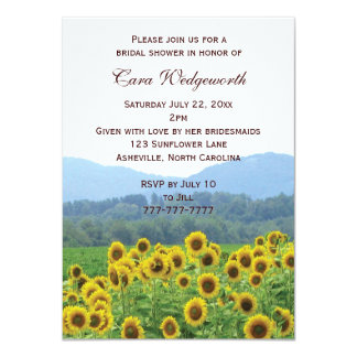 "Sunflowers Photo Bridal Shower Invitation 4.5"" X 6.25"" Invitation Card"