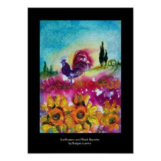 SUNFLOWERS, POPPIES AND BLACK ROOSTER POSTER
